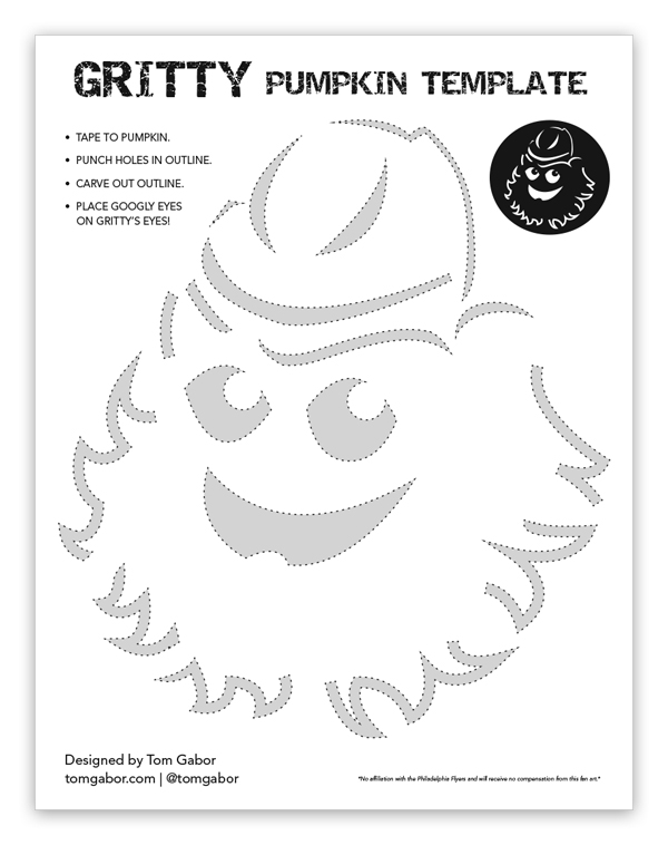 gritty the philadelphia flyers mascot pumpkin carving template download by tom gabor