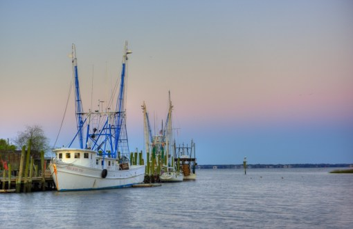 """Shrimp boats along Shem Creek. My firend recently commened, """"I love how Shem Creek still has an active fishing industry...I recently attended a wedding there where the vows were interrupted by someone using a grinder to repair their fishing boat."""""""