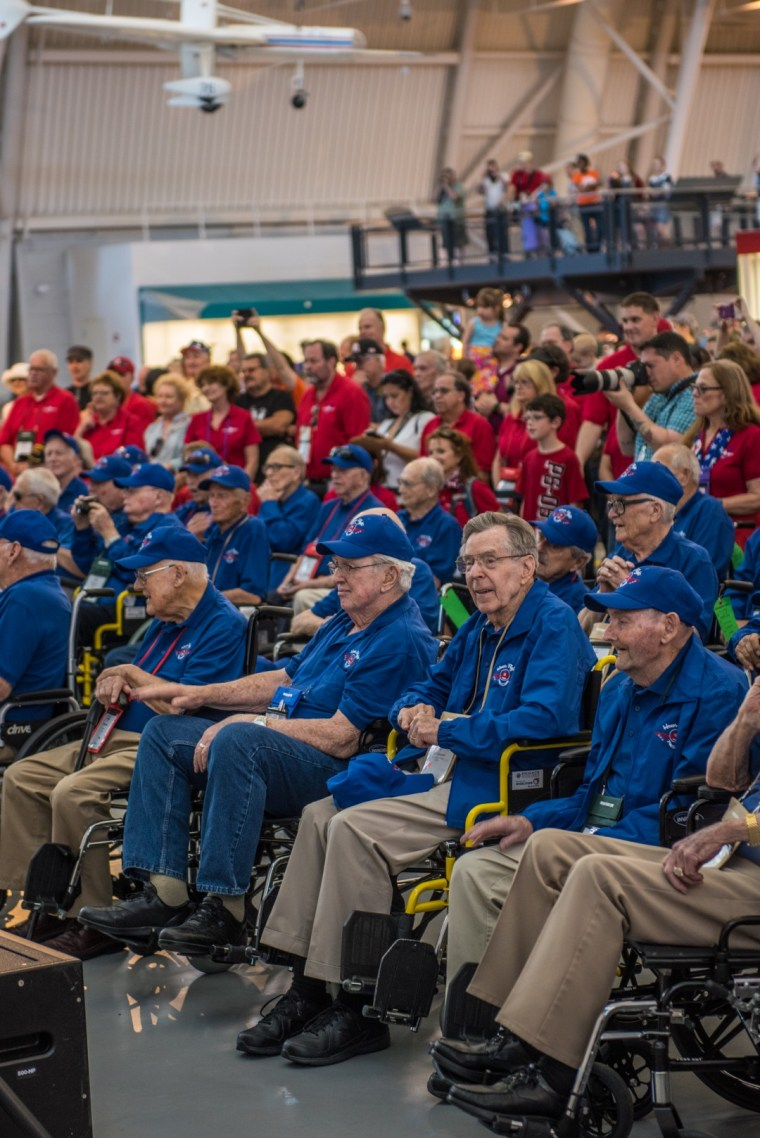 Honor flight participants enjoy a show at the National Air & Space Museum.