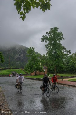 Braving heavy rains, they have the streets of Harpers Ferry all to themselves