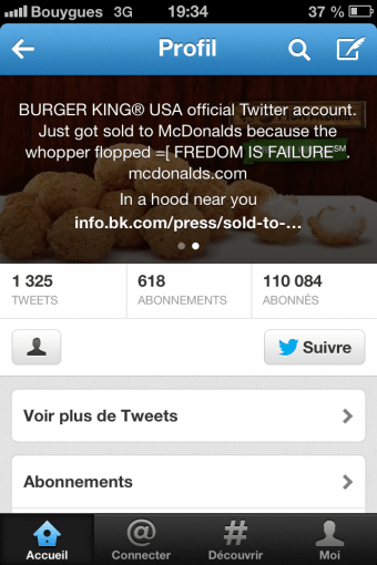 Bio Twitter Burgerking hacked