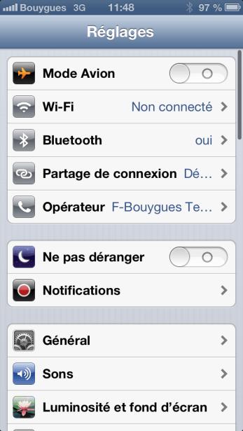 iOS 6 Réglages