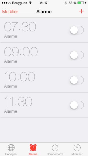 iOS 7 Alarme