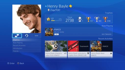 Interface PS4 Profil joueur