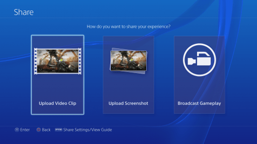 Interface PS4 Menu Share