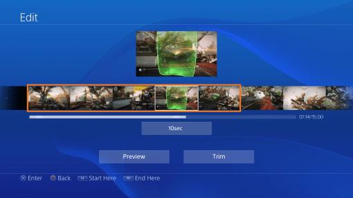 Interface PS4 Edition de vidéo