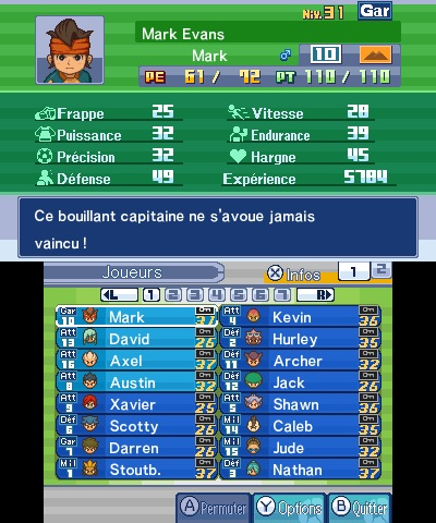 Inazuma Eleven 3 stats équipe