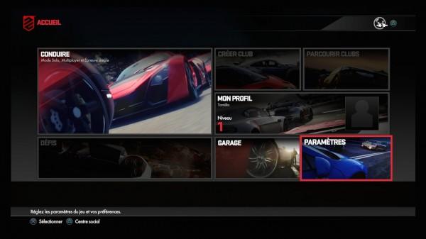 DRIVECLUB menu