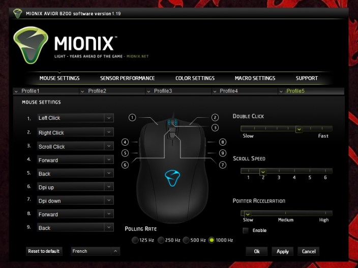 Mionix Avior 8200 Mouse Settings
