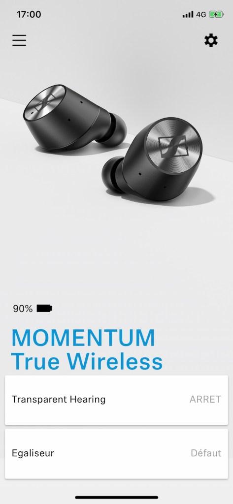 Sennheiser MOMENTUM True Wireless app mobile