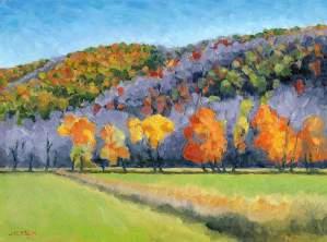 Fall Tree Line, Tom Jackson, oil on panel