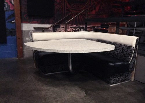 The vintage banquette in it's new home: Theater 1 of the New Parkway Theater, Oakland.