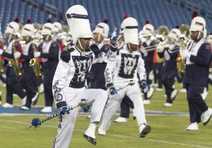 Devyn Miles performs with the Aristocrat of Bands recently at LP Field during the John Merritt Classic. Miles is the third female drum major in the marching band's nearly 70-year history, and the first in almost 20 years. (photo by John Cross, TSU Media Relations)