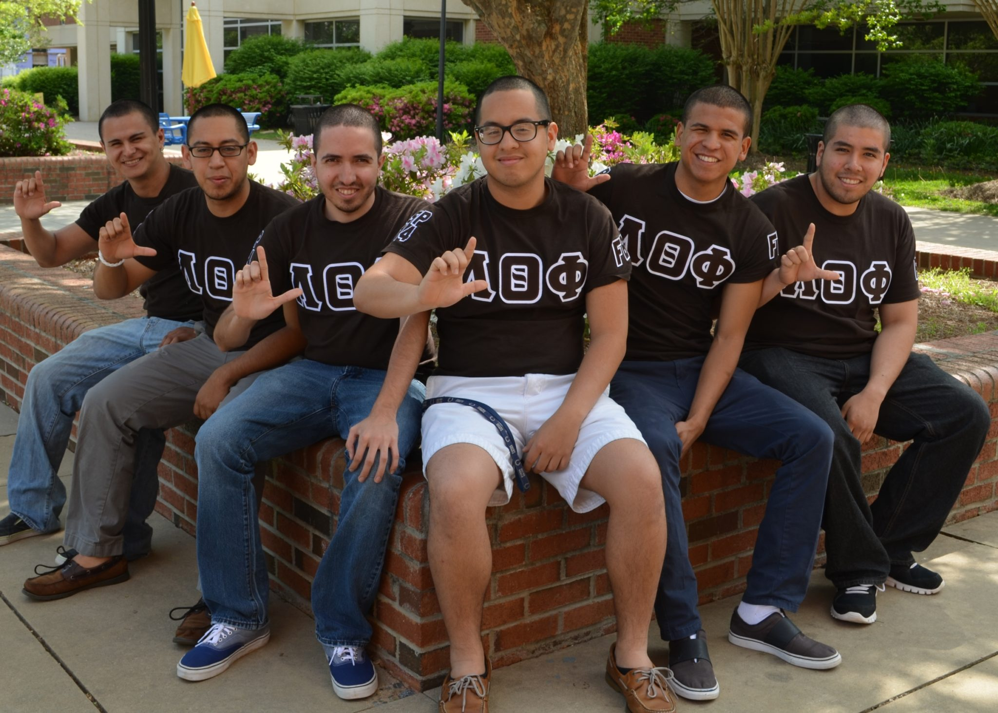 L-R are JCSU students and founders of the Lambda Theta Phi Latin Fraternity, Inc.: Omar Cossio, Yerisson Cardenas,  Francisco Cerrillo, Sergio Montesdeoca,  Luis Bryan Dominguez, Juan Carlos Hernandez Campillo