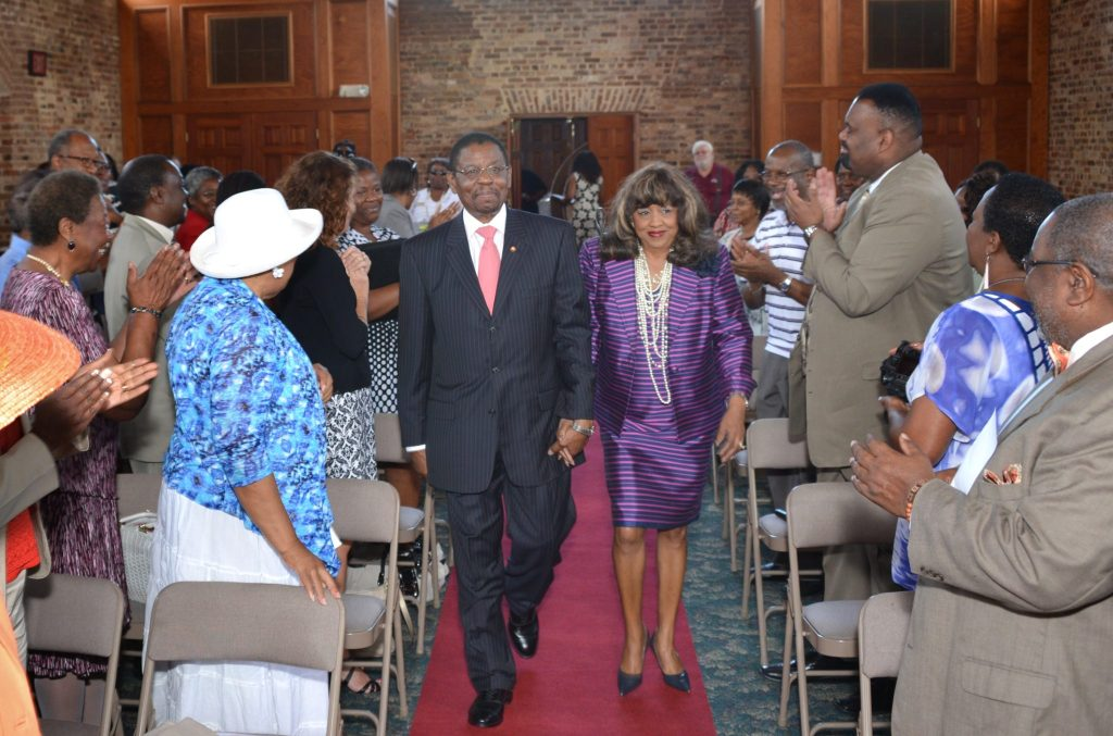 A cheering crowd welcomed President Henry N. Tisdale and Mrs. Alice Carson Tisdale to the kickoff for the 20th Anniversary Visionary Leadership Gala on Thursday in Ministers' Hall.