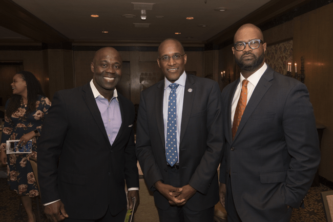 From left: Dillard University President Dr. Walter Kimbrough and Artis Flowers, president of Dillard University Dallas Ft. Worth Alumni Chapter. (Photo: Jesse Hornbuckle)
