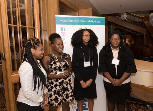 From left: TJF Manager of Online Communications, Toure Pride, with Full Ride Scholarship finalists Aliyah Gardner, Morgan Bacon and Cailyn Clemons. (Photo: Jesse Hornbuckle)