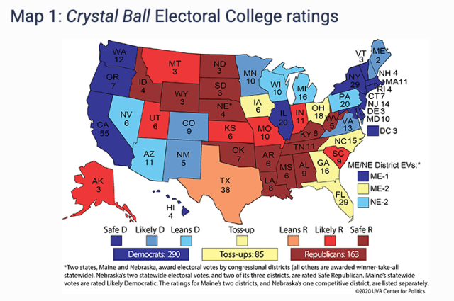 Electoral College map showing predictions for the 2020 Presidential Election, done by Sabato's Crystal Ball.
