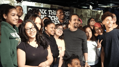"Photo of ""You gonna leave that idea stuck in your head forever? That sucks,"" says Lin-Manuel Miranda to BX students"