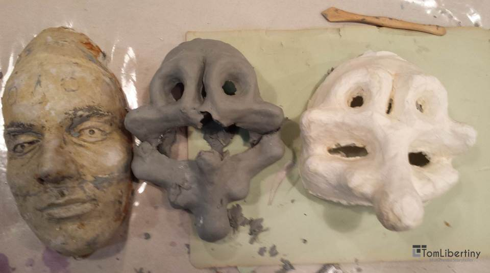 Destruction and rebirth of Murgatroyd the Mask (left to right)   Plaster cast   Removal of clay negative   Four layers of 90 lbs papier-mâché soaked in wallpaper glue plus two layers of tissue paper soaked in wallpaper glue