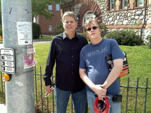 """Sept. 18, 2011 - Tommy Edison and camera operator Francis Sheehan after filming """"How Blind People Cross The Street"""""""