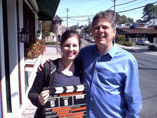 """Sept. 18, 2011 - Tommy Edison with Katie St. Pierre after filming """"How Blind People Use Paper Money"""""""