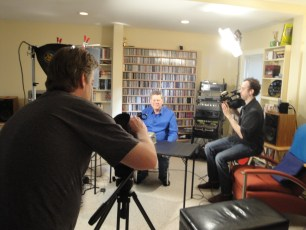 """April 1, 2012 - Ben Churchill and Francis Sheehan filming Tommy Edison for the """"How Blind People Write Braille"""" video"""