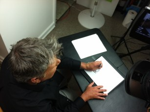"""June 18, 2013 - Tommy Edison filming the """"Can Blind People Draw?"""" video"""