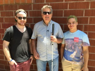 """July 16, 2016 - James Rath, Tommy Edison, and Elijah Pysyk at the shoot for """"How Pokemon Go Affects Blind People"""""""