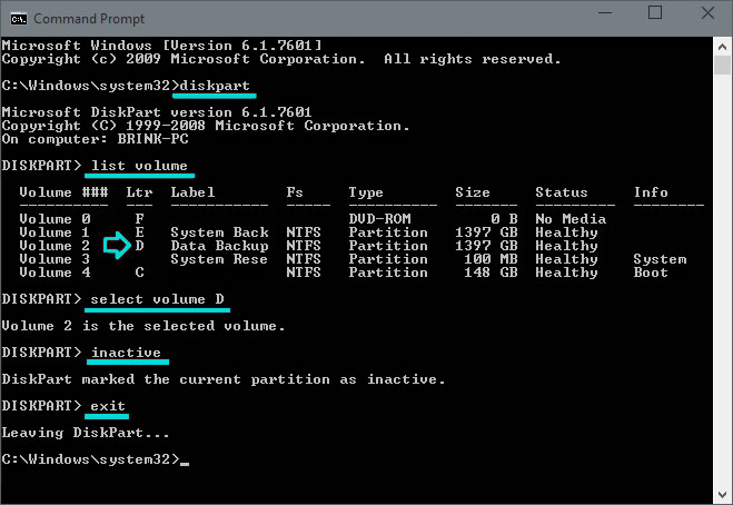 Mark Partition as Inactive using the Microsoft DISKPART tool