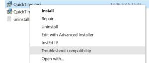 Troubleshoot Quicktime Compatibility for Windows 10 workaround