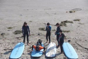 group of four kids during our surf lesson
