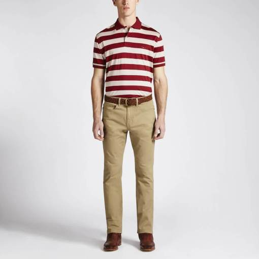 RM Williams 'Rod Stripe' Polo Shirt - Red / Bone