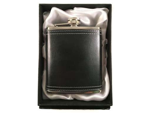 Stainless Steel Black Leather 7 oz Hip Flask