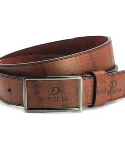 Brown leather belt with loop and hook buckle