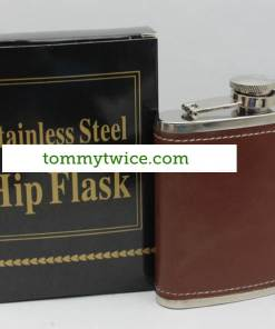 Stainless Steel Brown Leather 6oz Hip Flask