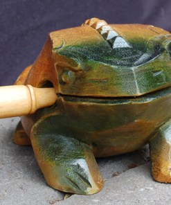 Hand carved croaking wooden frog from Vietnam