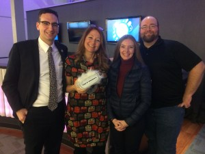 Tommy Vitolo Kathy Bisbee Heather Hamilton and Corbin Riedel at Brookline Interactive Group open house
