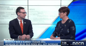 Tommy Vitolo on Sue O'Donnell's The Take on NECN, discussing MBTA fare increases
