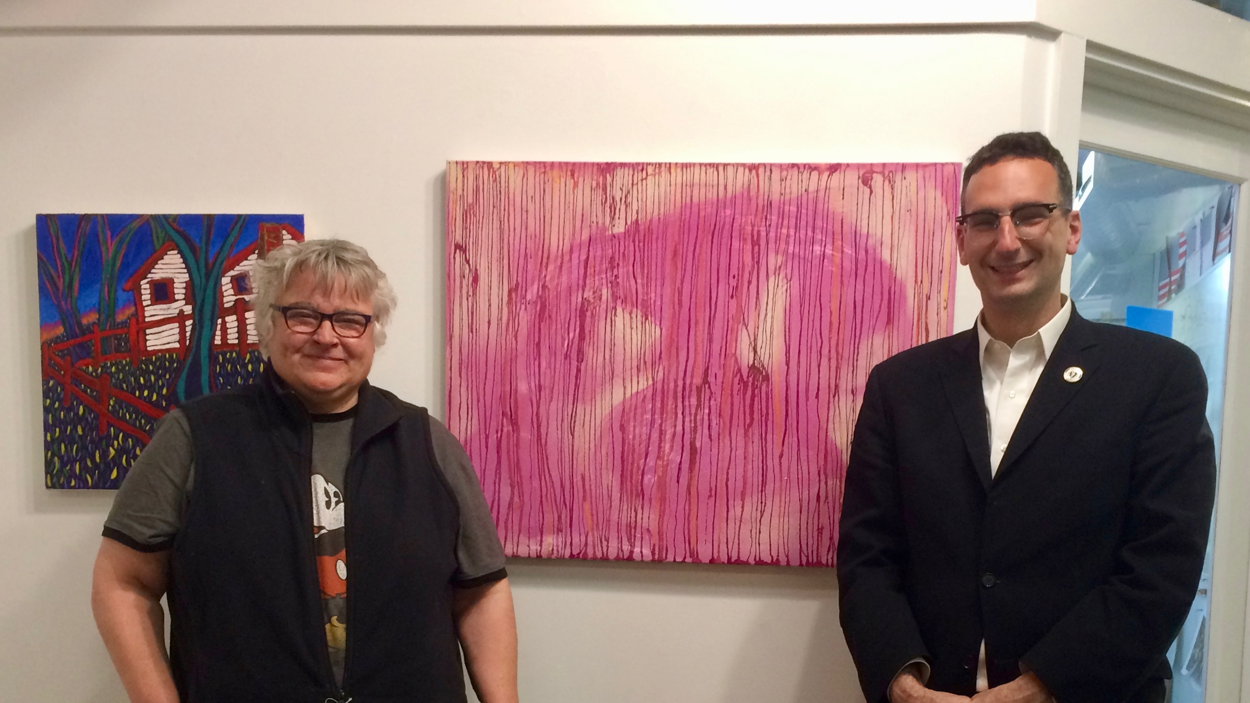 Tommy vitolo with artist at Gateway Arts studio in Brookline Village