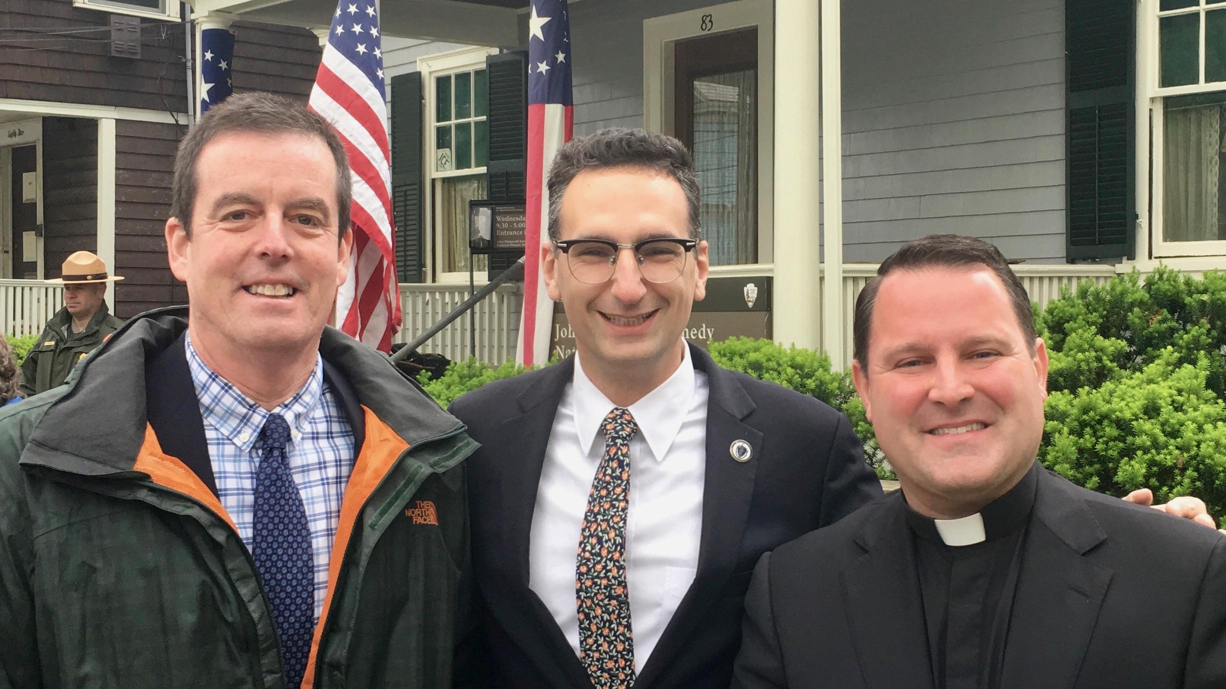 Rabbi Hamilton, Tommy Vitolo, and Father Gaspar at John Kennedy's birthplace