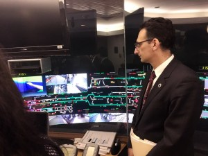 Tommy Vitolo at the MBTA control center