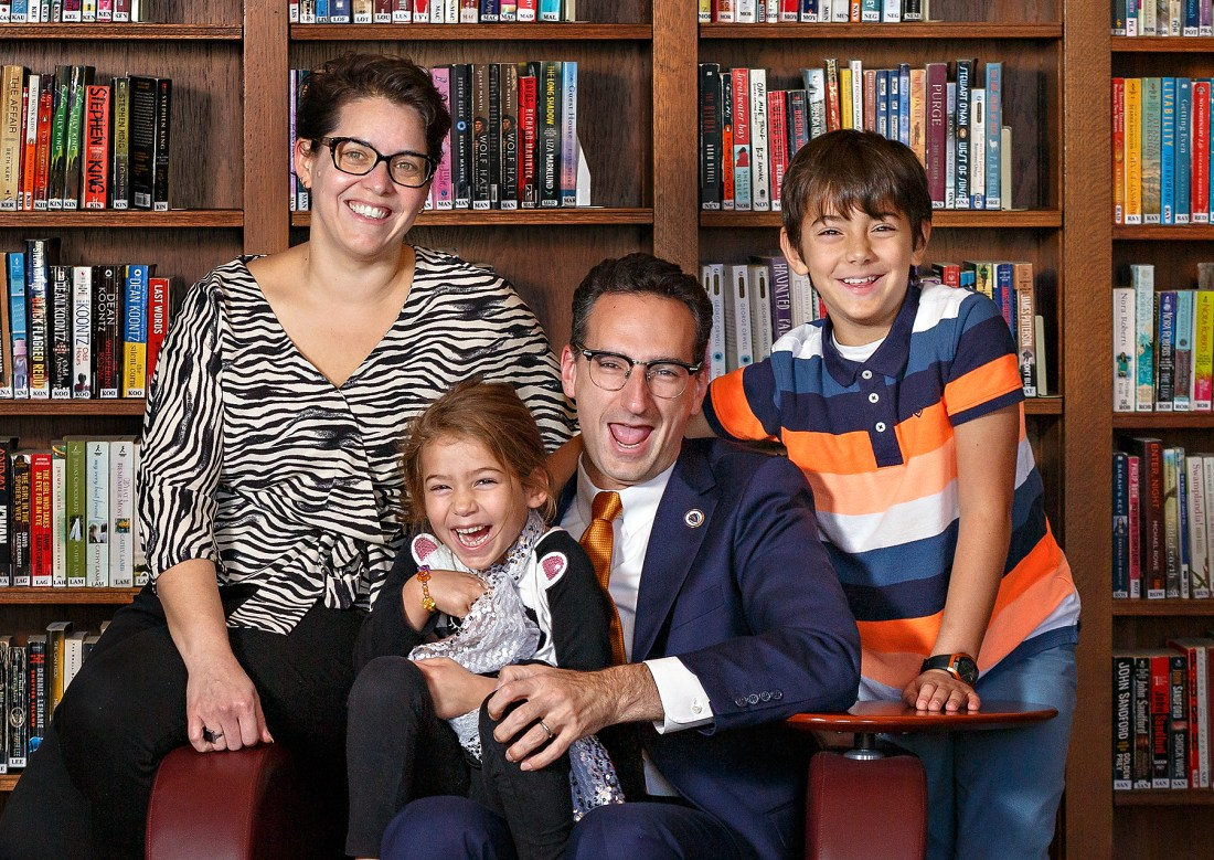Tommy Vitolo and family at the Brookline Public Library
