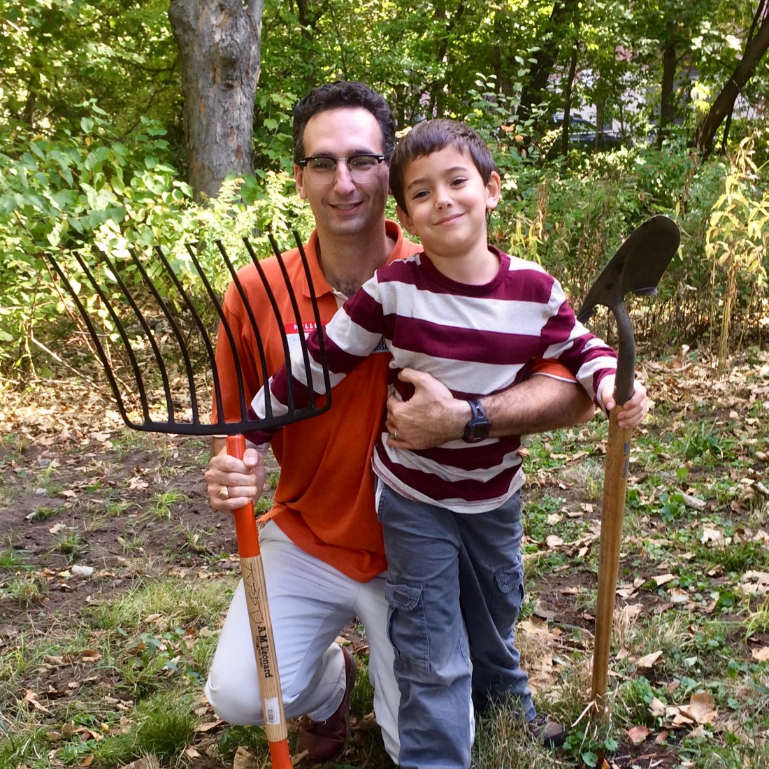 Tommy Vitolo with son at Halls Pond volunteer day