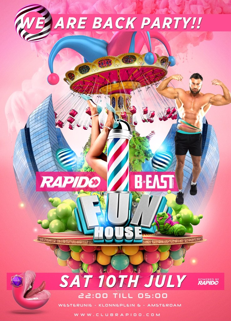 Rapido Events, Funhouse, Beast Party - Welcome Back Party - WesterUnie - Gay Dance Party Amsterdam - Circuit House