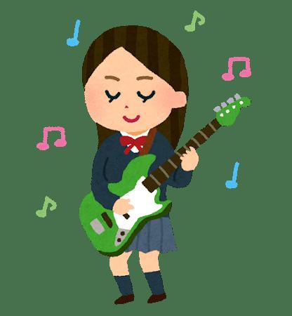ベースを弾いている女の子