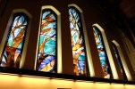 First Nations stained glass windows in a cathedral, Vancouver