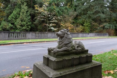 Lion statuette on a bridge in Stanley Park, Vancouver