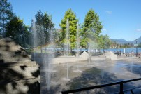 Rainbow in the fountains, Waterfront, Vancouver