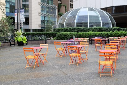 Colourful chairs in a downtown square, Vancouver